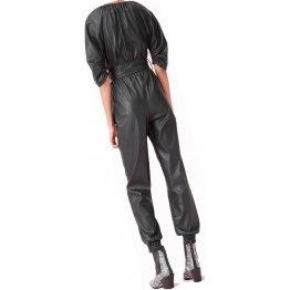 Womens Round Neck Original Sheepskin Black Leather Jumpsuit