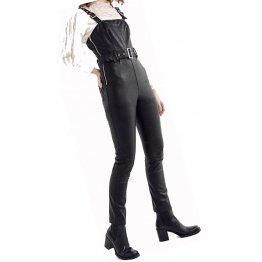 Womens Side Zipper Real Sheepskin Black Leather Jumpsuit