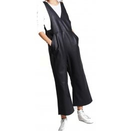 Womens Sleeveless Cool Wear Pure Sheepskin Black Leather Jumpsuit