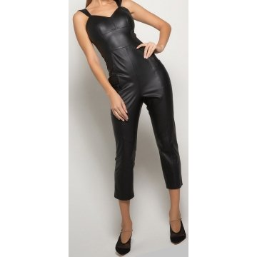 Womens Sleeveless Pure Lambskin Black Leather Jumpsuit