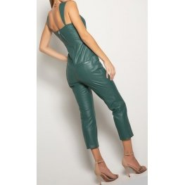 Womens Sleeveless Pure Lambskin Green Leather Jumpsuit