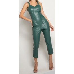 Womens Sleeveless Pure Lambskin Green Leather Jumpsuit