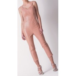 Womens Sleeveless Pure Lambskin Peach Leather Jumpsuit