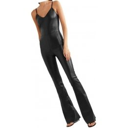 Womens Sleeveless Wide Leg Original Sheepskin Black Leather Jumpsuit