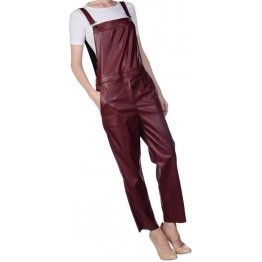 Womens Smart Wear Original Sheepskin Burgundy Leather Jumpsuit