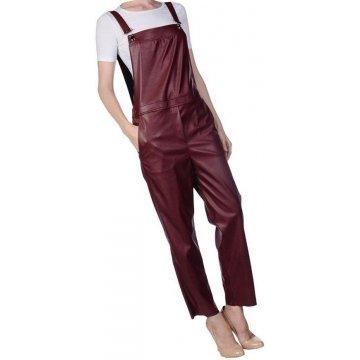 Womens Smart Wear Original Sheepskin Burgundy Leather Jumpsuit