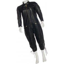Womens Standing Collar Original Sheepskin Black Leather Jumpsuit