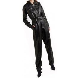 Womens Stunning Original Sheepskin Black Leather Jumpsuit