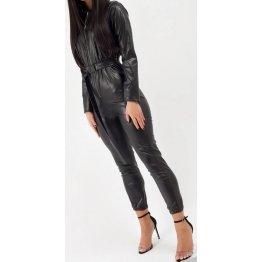 Womens Trendy Original Sheepskin Black Leather Jumpsuit