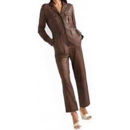 Womens Unique Pure Sheepskin Brown Leather Jumpsuit
