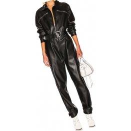 Womens Unique Trendy Original Sheepskin Black Leather Jumpsuit