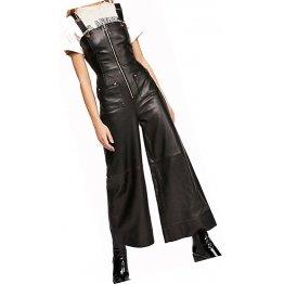 Womens Wide Leg Pure Lambskin Black Leather Jumpsuit