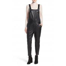Super Simple Black Leather Overalls Full Body Ladies Romper