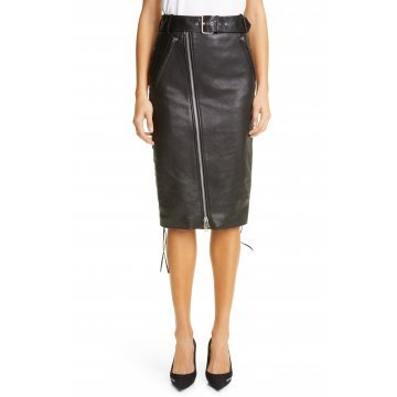 Ladies Long Front Zipper And Side Lace-Up Real Sheepskin Black Leather Skirt