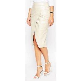 Womens Stylish Slimfit Genuine White Leather Partywear Skirt