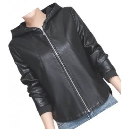 Ladies Hooded Bomber Real Sheepskin Black Leather Jacket Coat