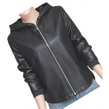 Ladies Hooded Bomber Real Sheepskin Black Leather Jacket Coat