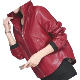 Ladies Hooded Bomber Real Sheepskin Red Leather Jacket Coat