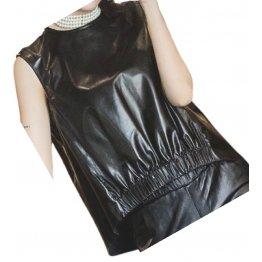 Womens Amazing Look Sleeveless Real Sheepskin Black Vest Waistcoat