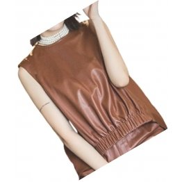 Womens Amazing Look Sleeveless Real Sheepskin Brown Vest Waistcoat