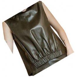 Womens Amazing Look Sleeveless Real Sheepskin Dark Brown Vest Waistcoat