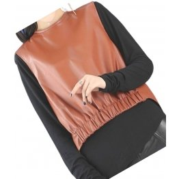 Womens Amazing Look Sleeveless Real Sheepskin Tan Vest Waistcoat