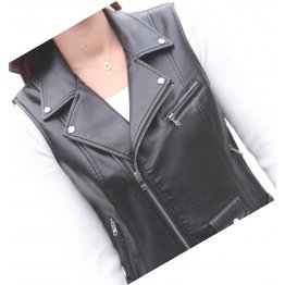 Womens Cute Style Sleeveless Moto Real Sheepskin Black Leather Motorcycle Jacket Vest Waistcoat