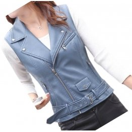 Womens Cute Style Sleeveless Moto Real Sheepskin Blue Leather Motorcycle Jacket Vest Waistcoat