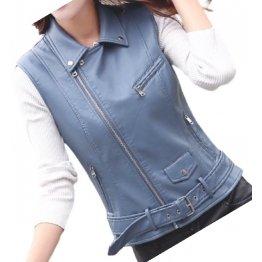 Womens Cute Style Sleeveless Moto Real Sheepskin Blue Leather Motorcycle Jacket Vest Waistcoat
