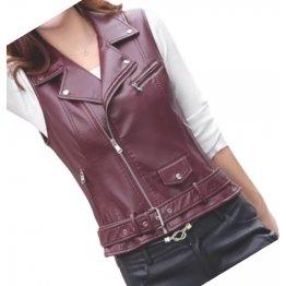 Womens Cute Style Sleeveless Moto Real Sheepskin Burgundy Leather Motorcycle Jacket Vest Waistcoat