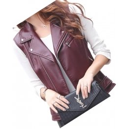 Womens Cute Style Sleeveless Moto Real Sheepskin Burgundy Leather Motorcycle Jacket Vest Waistcoat