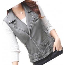Womens Cute Style Sleeveless Moto Real Sheepskin Gray Leather Motorcycle Jacket Vest Waistcoat