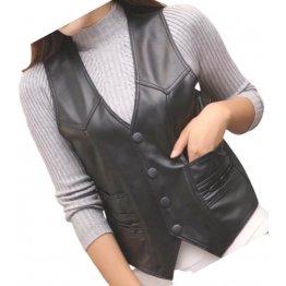 Womens Designer Style Sleeveless Real Leather Black Biker Vest Waistcoat