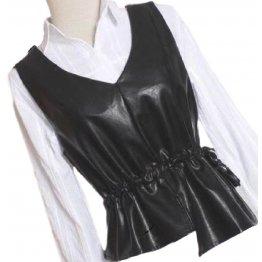 Womens Eye-Catching Sleeveless Real Lambskin Black Leather Vest Waistcoat
