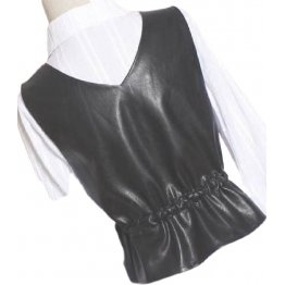 Womens Eye-Catching Sleeveless Real Lambskin Black Leather Vest Waistcoat