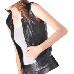 Womens Great Look Sleeveless Leather Real Lambskin Black Biker Vest Waistcoat