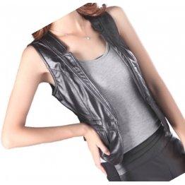 Womens Great Look Sleeveless Leather Real Lambskin Black Biker Vest Waistcoat