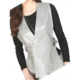 Womens Incredible Look Sleeveless Real Lambskin Gray Leather Vest Waistcoat