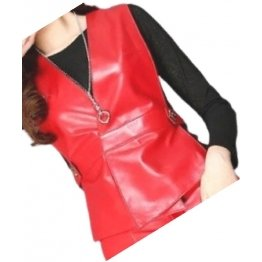 Womens Incredible Look Sleeveless Real Lambskin Red Leather Vest Waistcoat
