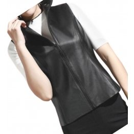 Womens New Fashion Sleeveless Moto Real Lambskin Black Motorcycle Vest Waistcoat