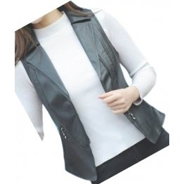 Womens Prominent Style Sleeveless Moto Real Sheepskin Black Leather Motorcycle Biker Vest Waistcoat
