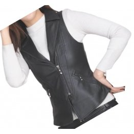 Womens Prominent Style Sleeveless Moto Real Sheepskin Black Leather Motorcycle Biker Vest Waistcoat
