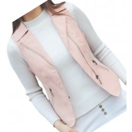 Womens Prominent Style Sleeveless Moto Real Sheepskin Pink Leather Motorcycle Biker Vest Waistcoat