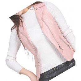 Womens Prominent Style Sleeveless Moto Real Sheepskin Pink Leather Motorcycle Biker Vest Waistcoat