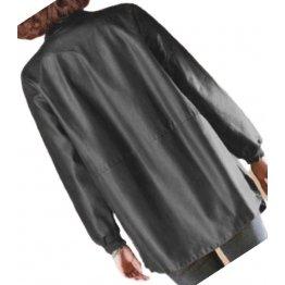 Womens Round Neck Real Sheepskin Black Leather Bomber Jacket