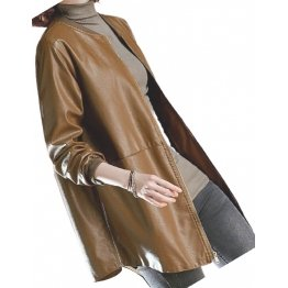 Womens Round Neck Real Sheepskin Brown Leather Bomber Jacket