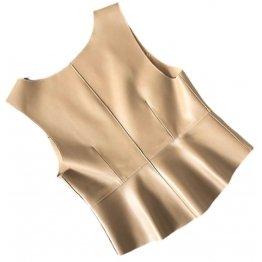 Womens Stunning Look Sleeveless Real Sheepskin Beige Vest Waistcoat