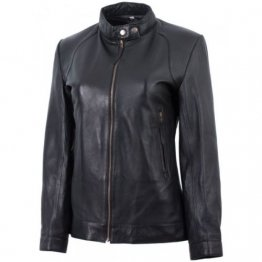 Womens Basic Front Zip Real Lambskin Black Leather Jacket