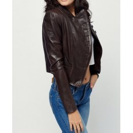 Womens Button Style Bitter Chocolate Leather Coat Jacket