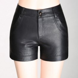 Womens Casual Black Leather High Waist Bodycon Shorts